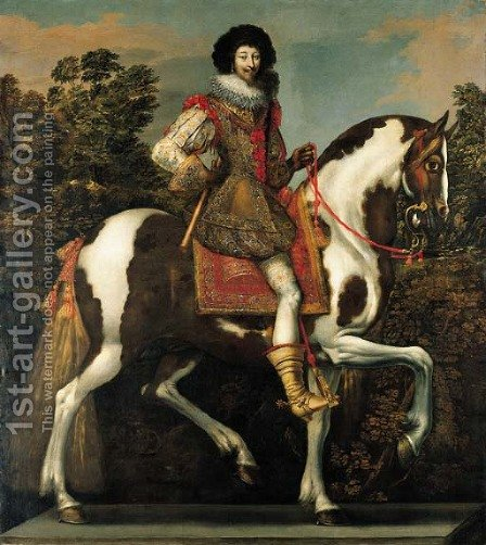 Equestrian portrait of a nobleman, traditionally identified as the Duke of Buckingham, full-length by Claude Deruet - Reproduction Oil Painting