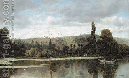 A tranquil lake by Claude Francois Auguste Marquise De Mesgriny - Reproduction Oil Painting