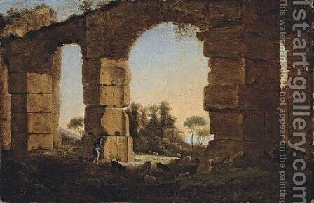 An Italianate evening landscape with a shepherd and his flock by a ruined aqueduct by Claude Lorrain (Gellee) - Reproduction Oil Painting