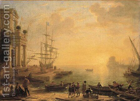 A capriccio of an Italianate harbour at sunset, with merchants, fishermen and stevedores on the shore in the foreground, men-o'-war at a quay beyond by Claude Lorrain (Gellee) - Reproduction Oil Painting
