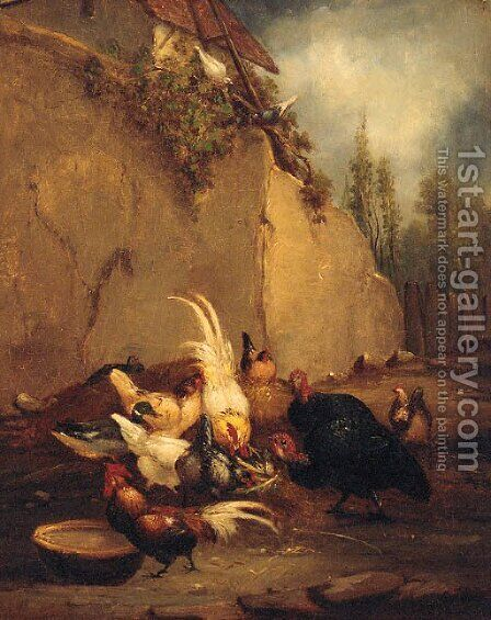 Chickens and Turkeys in a Farmyard by Claude Guilleminet - Reproduction Oil Painting