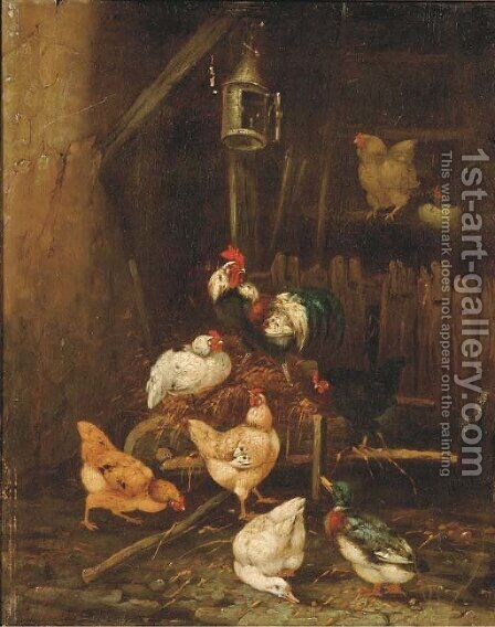 In the hen house by Claude Guilleminet - Reproduction Oil Painting