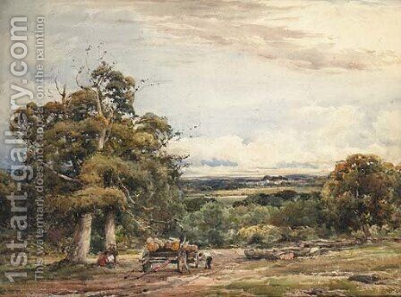 Mending the Cart in an expansive wooded Landscape by Claude Hayes - Reproduction Oil Painting