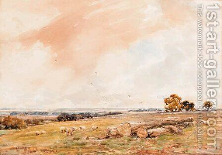 Sheep grazing in an open landscape by Claude Hayes - Reproduction Oil Painting