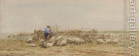 A Norfolk sheep fold by Claude Hayes - Reproduction Oil Painting