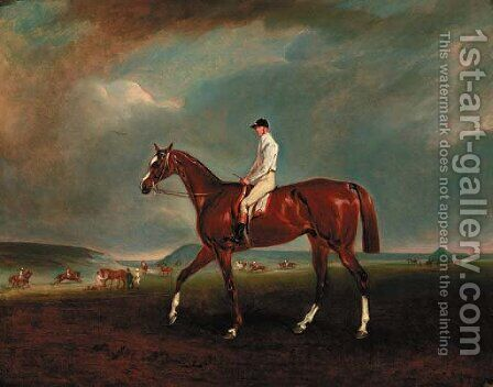 A chestnut racehorse with jockey up, with horses exercising beyond by Claude L. Ferneley - Reproduction Oil Painting