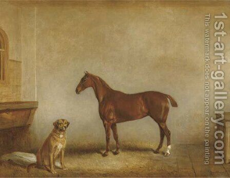 Bess and Polly in a stable by Claude L. Ferneley - Reproduction Oil Painting