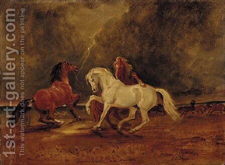 Duncan's Horses, a scene from Macbeth by Claude L. Ferneley - Reproduction Oil Painting