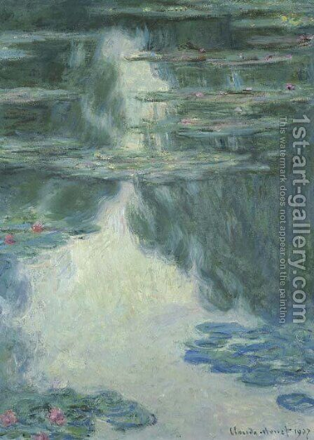 Nympheas, temps gris by Claude Oscar Monet - Reproduction Oil Painting