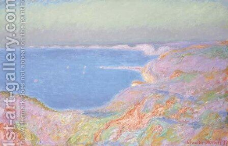 Sur la falaise pres de Dieppe, soleil couchant by Claude Oscar Monet - Reproduction Oil Painting