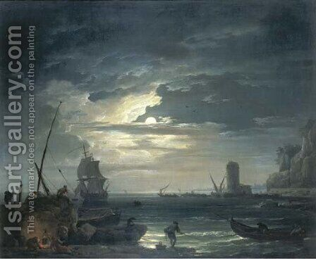 A Mediterranean inlet by moonlight with fisherfolk cooking by a rock, a three-master about to drop anchor and a tower beyond by Claude-joseph Vernet - Reproduction Oil Painting