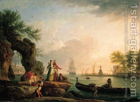 A Mediterranean port at sunset with a Levantine couple on an outcrop and fishermen unloading their catch by Claude-joseph Vernet - Reproduction Oil Painting