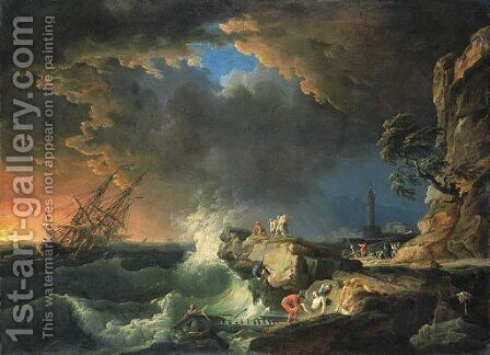 Le Vaisseau submerge by Claude-joseph Vernet - Reproduction Oil Painting