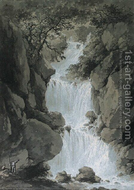 Views of the Reinbach Falls, Switzerland by Claude Louis Chatelet - Reproduction Oil Painting