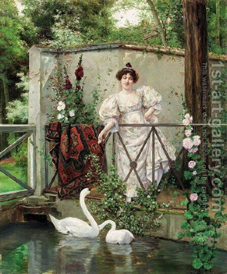 Feeding the swans by Clément Pujol de Guastavino - Reproduction Oil Painting