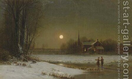 Moon Over the Skating Pond by Clinton Loveridge - Reproduction Oil Painting