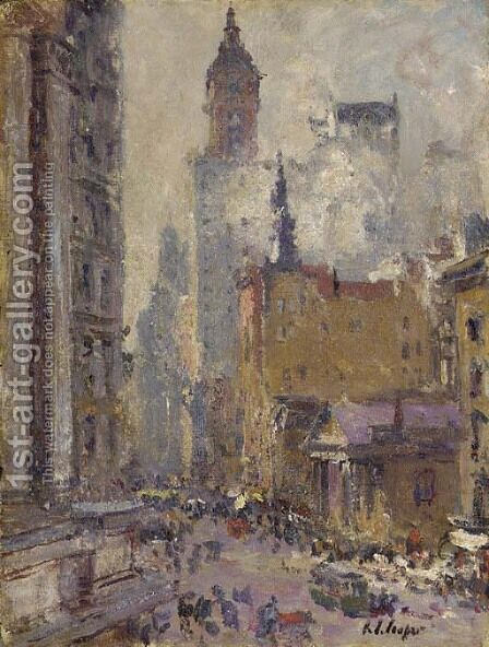 Broadway from the Post Office by Colin Campbell Cooper - Reproduction Oil Painting