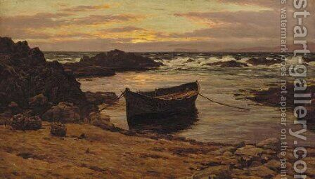 Sunset over the coast by Colin Hunter - Reproduction Oil Painting