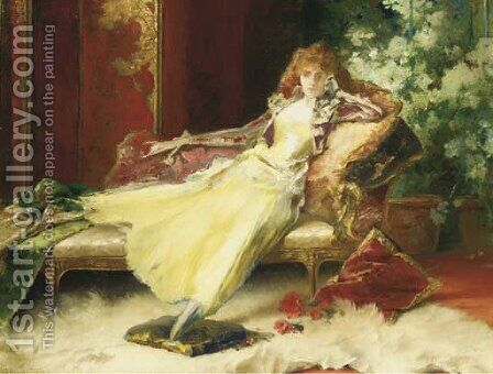 The yellow dress by Conrad Kiesel - Reproduction Oil Painting