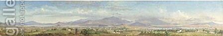 Important panoramic view of the Valley of Mexico, San Angel by Conrad Wise Chapman - Reproduction Oil Painting