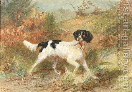 A gundog retrieving a bird by Conradyn Cunaeus - Reproduction Oil Painting