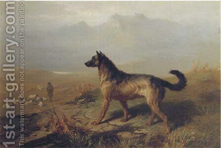 Guarding the flock in the Highlands, Scotland by Conradyn Cunaeus - Reproduction Oil Painting