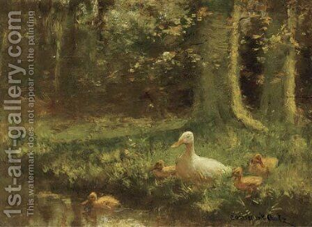 Duck and ducklings on a riverbank by David Adolf Constant Artz - Reproduction Oil Painting