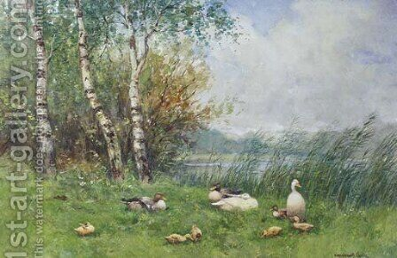 Ducks and ducklings on a river bank by David Adolf Constant Artz - Reproduction Oil Painting