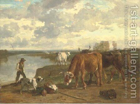 Cattle and a shepherd by Constant Troyon - Reproduction Oil Painting