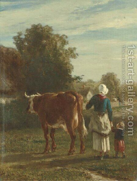 Retour de la vache by Constant Troyon - Reproduction Oil Painting