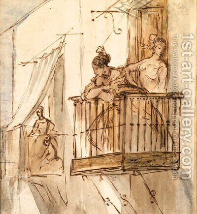 Ladies on the Balcony by Constantin Guys - Reproduction Oil Painting