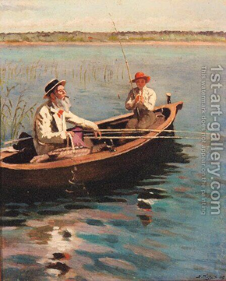 Fishing on a Lake on a Summer's Day by Aleksandr Vladimirovich Makovsky - Reproduction Oil Painting