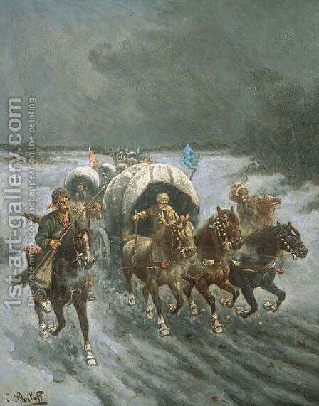 Russian Caravans in the Snow by Constantin Stoiloff - Reproduction Oil Painting
