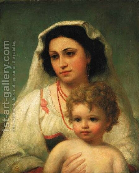 Mother and child by Continental School - Reproduction Oil Painting