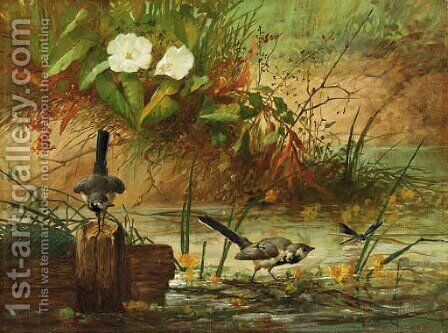 Summer pond by Continental School - Reproduction Oil Painting