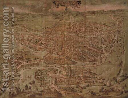 A Birds Eye view of the City of Ghent 1434 (Ganda Gallie Belgice Civitas Maxima 1434) by Continental School - Reproduction Oil Painting