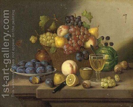 A still life of grapes, pears and apples in a wicker basket and plums, lemons and a peach on a ledge by Continental School - Reproduction Oil Painting