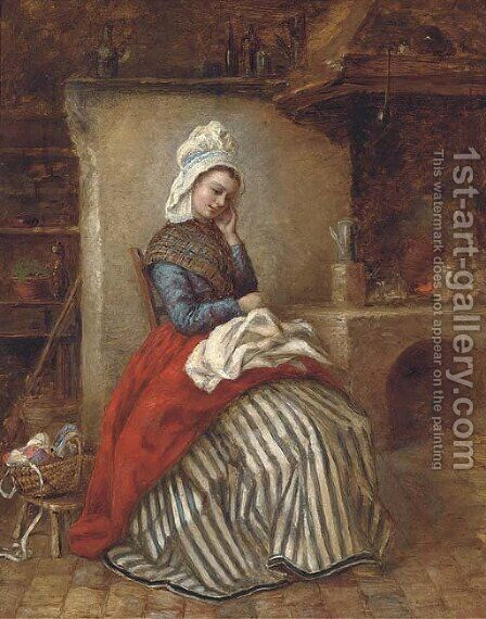 A young woman seated in a kitchen interior by Continental School - Reproduction Oil Painting