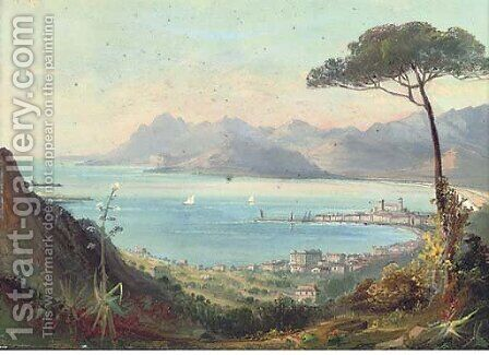 Cannes, from La Croix de la Garde; and Cannes, looking towards the Esterell mountains by Continental School - Reproduction Oil Painting