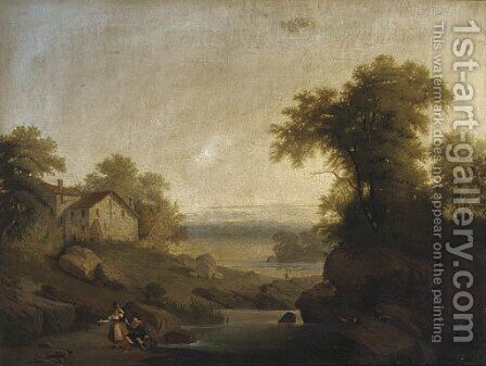 Figures gossiping by a pond, in an Italianate landscape by Continental School - Reproduction Oil Painting
