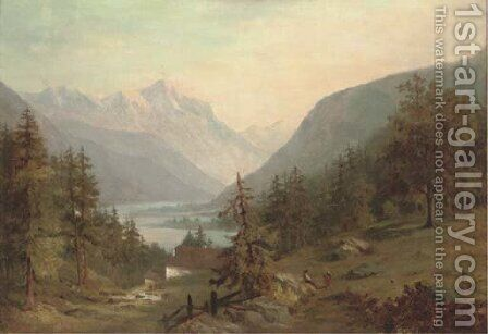Figures in an extensive alpine landscape by Continental School - Reproduction Oil Painting
