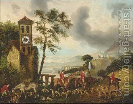 Huntsmen in an Italianate lake landscape, a clock picture by Continental School - Reproduction Oil Painting