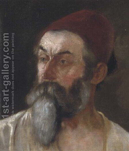 Portrait of a Turk by Continental School - Reproduction Oil Painting