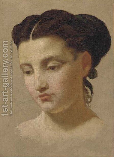 Study of a young lady, bust-length by Continental School - Reproduction Oil Painting