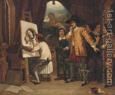 The artist's studio by Continental School - Reproduction Oil Painting