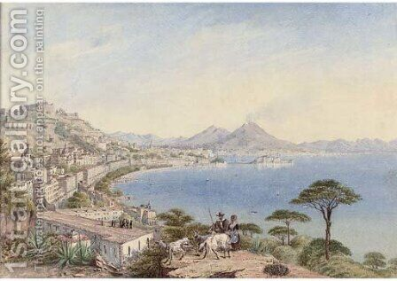 The Bay of Naples, Vesuvius behind by Continental School - Reproduction Oil Painting