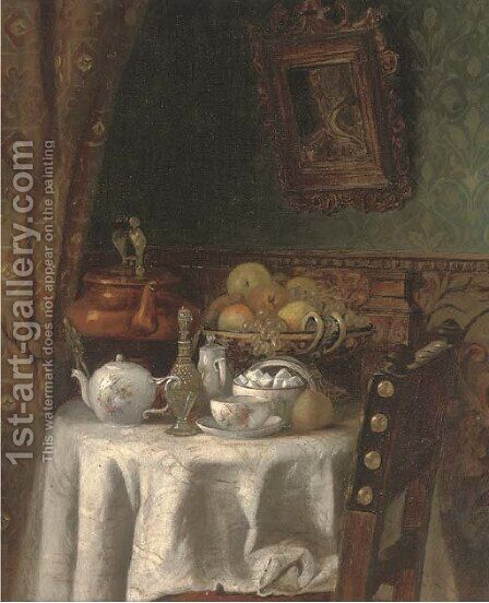 The breakfast table; and The spinning wheel by Continental School - Reproduction Oil Painting