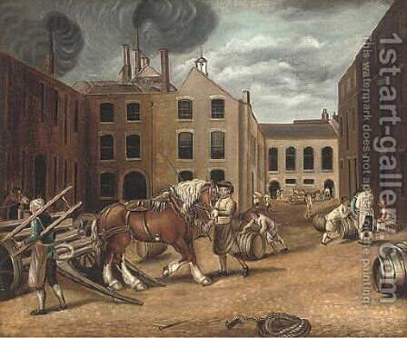 The cooper's yard by Continental School - Reproduction Oil Painting