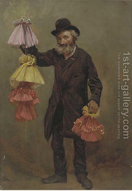 The lampshade seller by Continental School - Reproduction Oil Painting