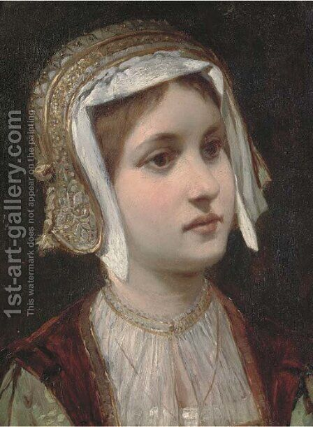 Portrait of a young girl, bust-length, in a gold headdress by Continental School - Reproduction Oil Painting